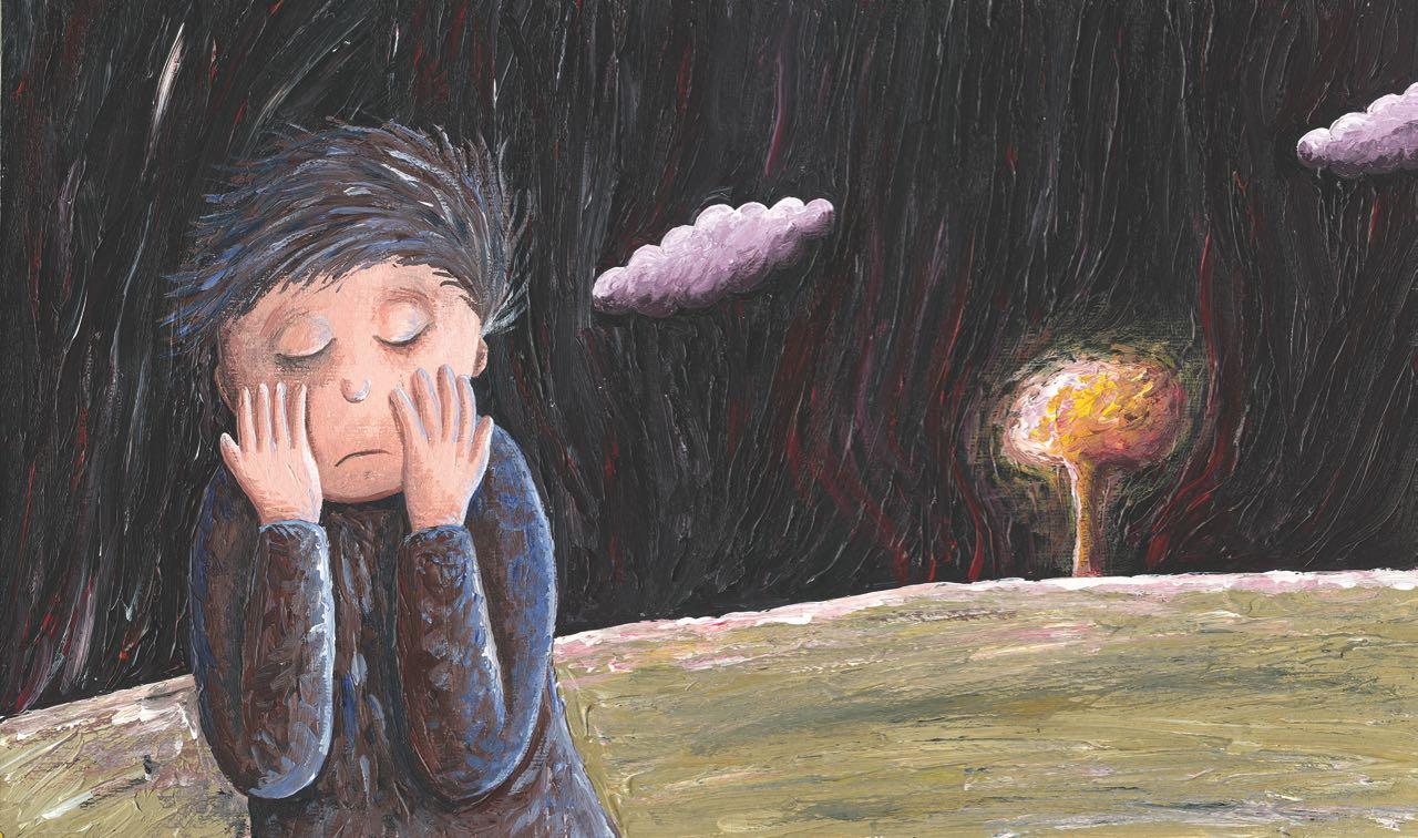 Niño con temor en la noche. Ilustración del libro Amor, de Andrea Petrlik. Editorial Leetra.