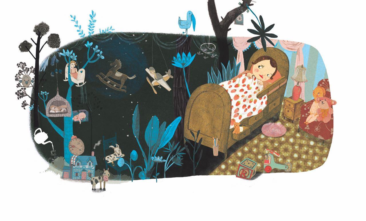 Niña en en su cuarto de noche con un sueño de selva. Ilustración del libro Buenas Noches Monstruo, de Shira Geffen y Natalie Waksman-Shenker. Editorial Leetra.