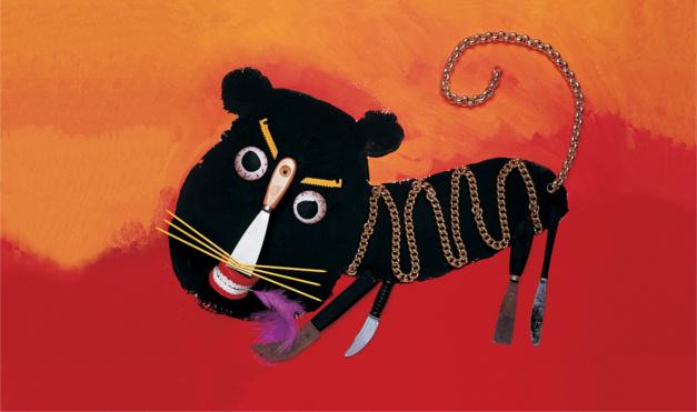 León hecho con las manos de collares y varias cosas. Ilustración del libro La Pluma Violeta, de Hanoch Piven. Editorial Leetra.