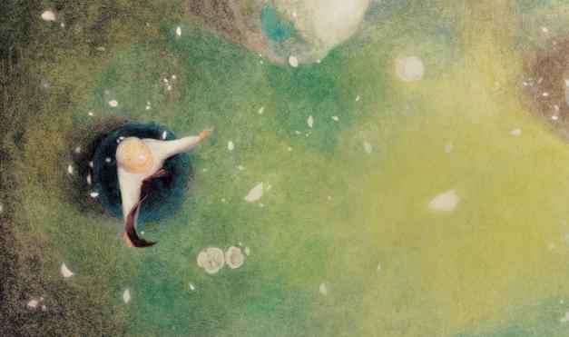 Abuela en el pasto viendo hacia el cielo. Ilustración del libro Mi abuela me lee libros, de InJa Kim y Jinhee Lee. Editorial Leetra.