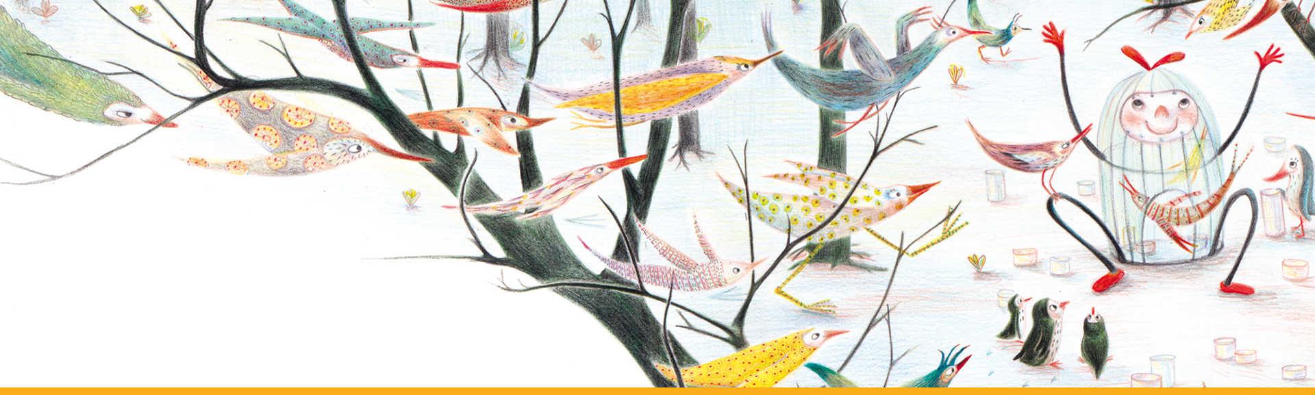 ilustracion de una jaula rodeada de pajaros en el bosque - erase una vez una jaula - Leetra. Dibujo de Eva Sánchez Gómez.
