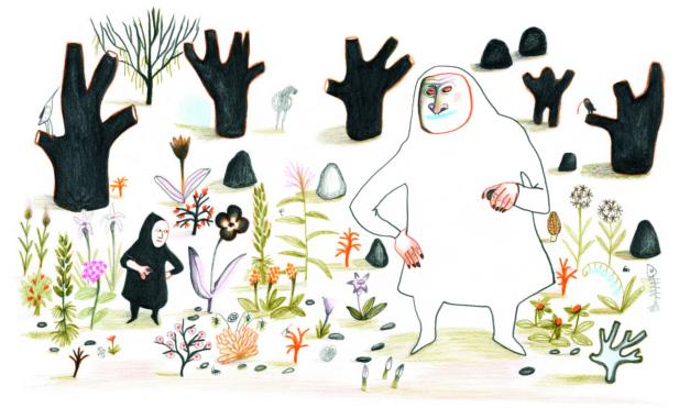 Persona gigante en medio de la naturaleza seca. Ilustración del libro Dentro de mí, de Alex Cousseau y Kitty Crowther. Editorial Leetra.