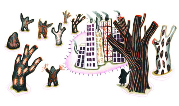 Yo en la ciudad rodeada de árboles. Ilustración del libro Dentro de mí, de Alex Cousseau y Kitty Crowther. Editorial Leetra.