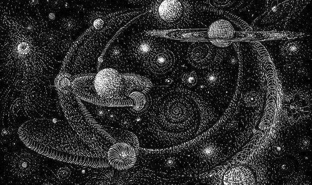 Universo, sistema solar en blanco y negro. Ilustración del libro Mi taza de té, de Dror Burstein y Meir Appelfeld. Editorial Leetra.