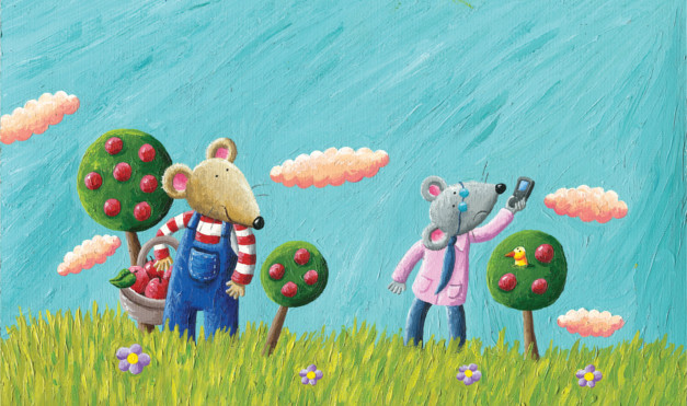 No hay señal en el campo mientras recogen manzanas. Ilustración del libro Ratón de campo y ratón de ciudad, de Andrea Petrlik y Kašmir Huseinović. Editorial Leetra.