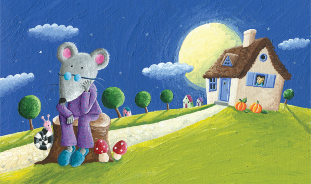 Extrañando la ciudad, en medio de una noche de luna llena en el campo. Ilustración del libro Ratón de campo y ratón de ciudad, de Andrea Petrlik y Kašmir Huseinović. Editorial Leetra.