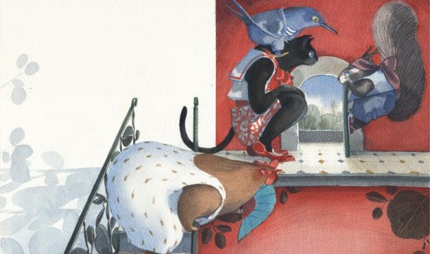 Gallina, gato, ardilla y ave abriendo la puerta del departamento. Ilustración del libro Se renta departamento, de Lea Goldberg y Eva Sánchez. Editorial Leetra.
