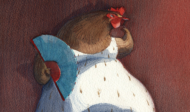 La gallina vestida con su abanico. Ilustración del libro Se renta departamento, de Lea Goldberg y Eva Sánchez. Editorial Leetra.