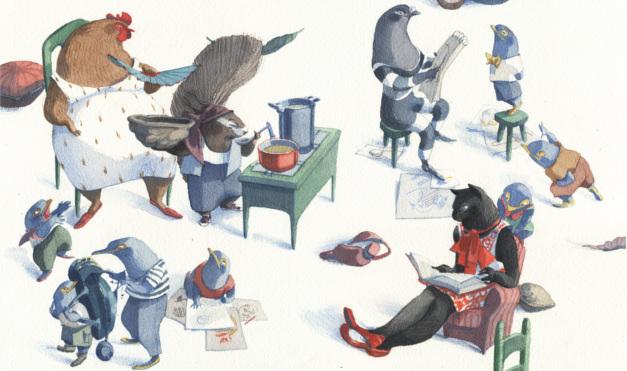 Animales pasando el día: gato leyendo, gallina cocinando otros dibujando en el departamento. Ilustración del libro Se renta departamento, de Lea Goldberg y Eva Sánchez. Editorial Leetra.