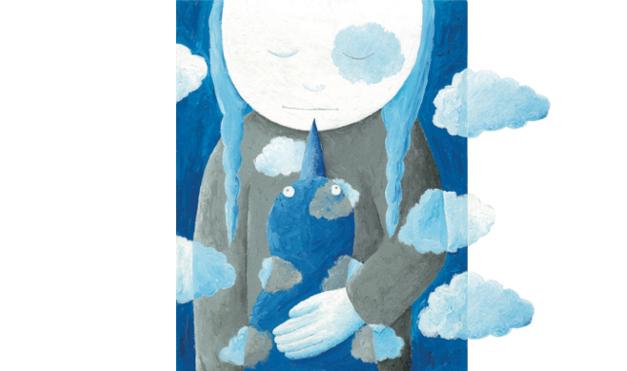 Niña y paloma en las nubes. Ilustración del libro Cielo Azul, de Andrea Petrlik. Editorial Leetra.