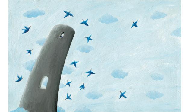 Torre alta rodeada de aves. Ilustración del libro Cielo Azul, de Andrea Petrlik. Editorial Leetra.