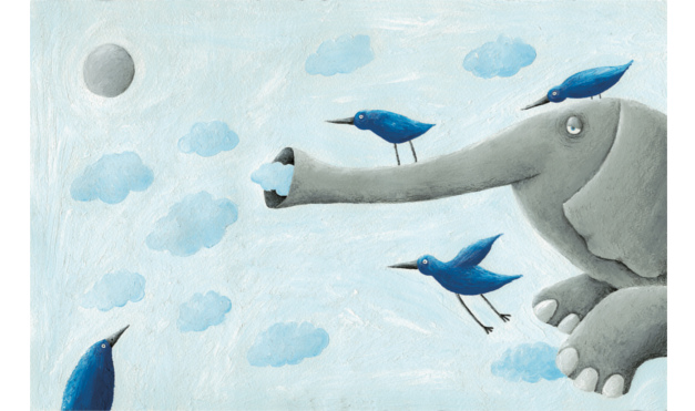 Elefante volando con aves sobre él. Ilustración del libro Cielo Azul, de Andrea Petrlik. Editorial Leetra.
