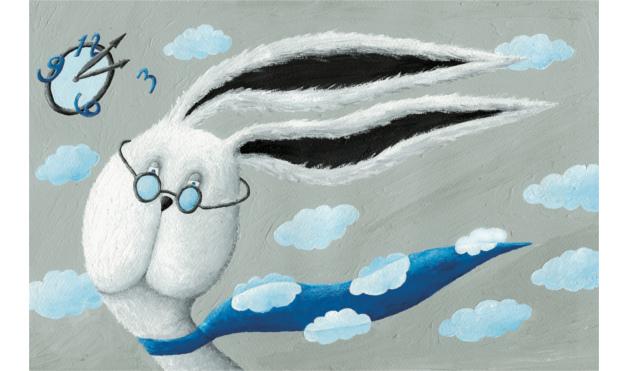 Conejo con lentes y bufanda con prisa en las nubes. Ilustración del libro Cielo Azul, de Andrea Petrlik. Editorial Leetra.