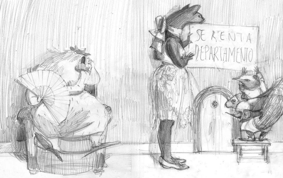 Gallina y gato y ardillas poniendo cartel. Boceto a lápiz de las ilustraciones de Eva Sánchez Gómez para el libro Se Renta Departamento (Lea Goldberg). Editorial Leetra.