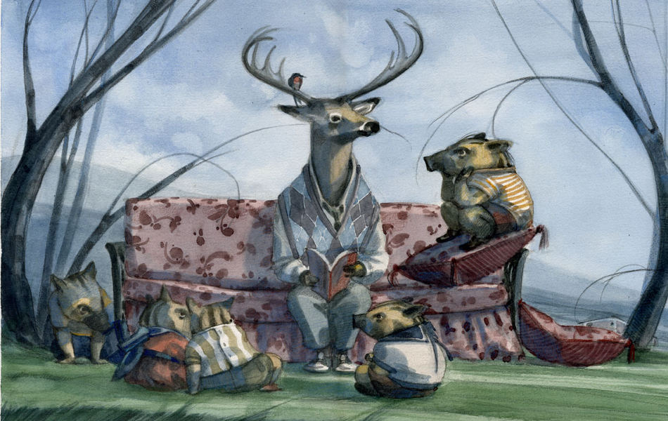 Ilustración de Eva Sánchez Gómez de animales - venado y puerquitos sentados en un sillón en el bosque. Editorial Leetra.