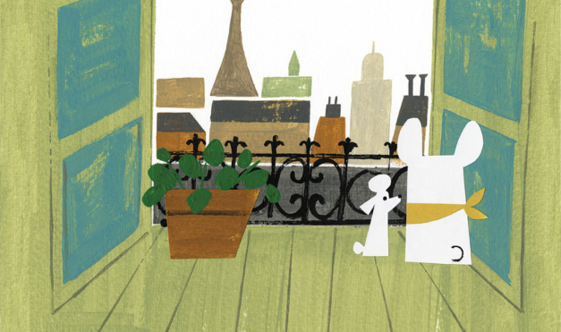 ilustración del libro Antoinette, de Kelly Dipucchio y Christian Robinson - Editorial Leetra. Perro bulldog y poodle enamorados.