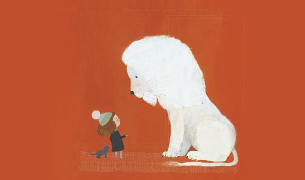 Ilustración del libro el León Nieve - león blanco viendo a un niño