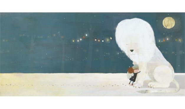 Ilustración del libro el León Nieve - león blanco y niña abrazándose