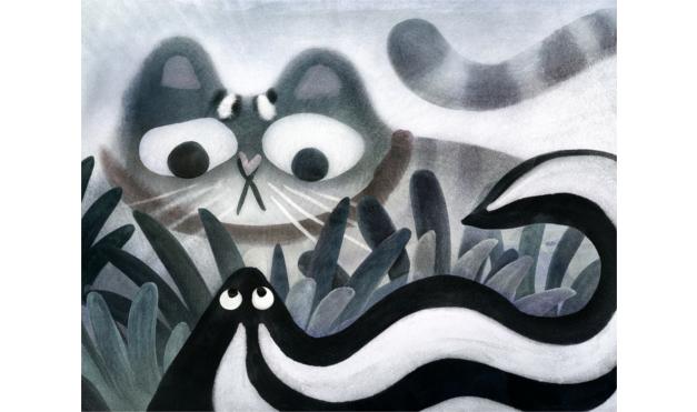 Ilustración del libro Todos vieron un gato - gato y zorrillo