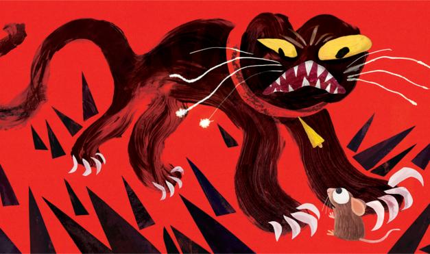Ilustración del libro Todos vieron un gato - con un ratón en fondo rojo